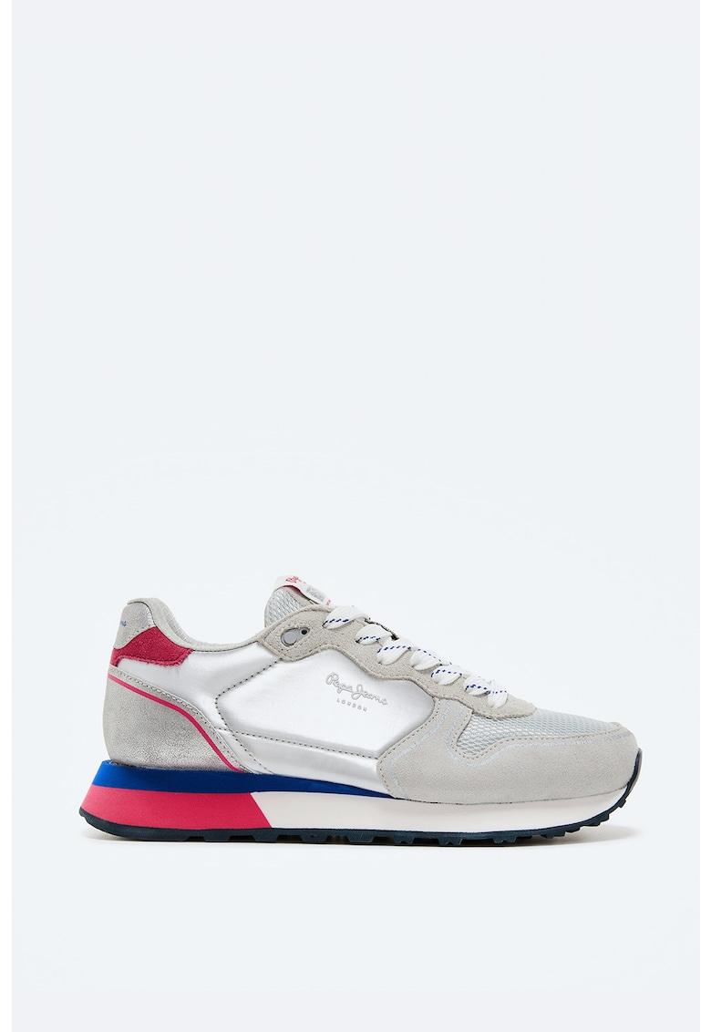 Pantofi sport din piele intoarsa si plasa