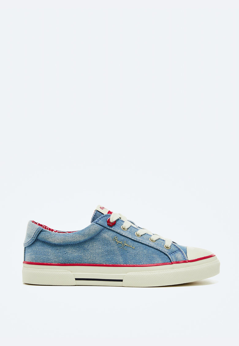 Pantofi sport cu aspect de denim si aplicatie cap-toe de protectie imagine fashiondays.ro 2021