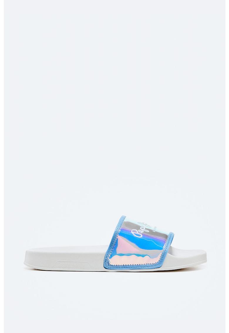 Papuci cu aspect holografic imagine fashiondays.ro Pepe Jeans London