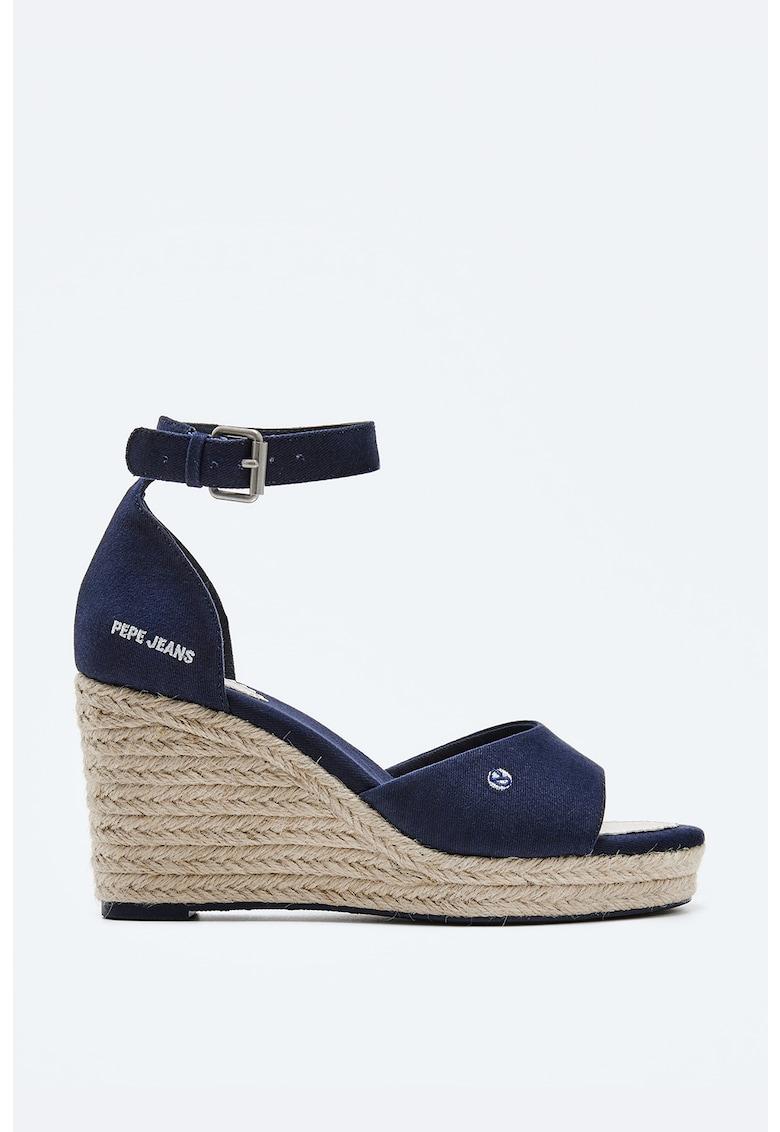 Sandale wedge tip espadrile din denim