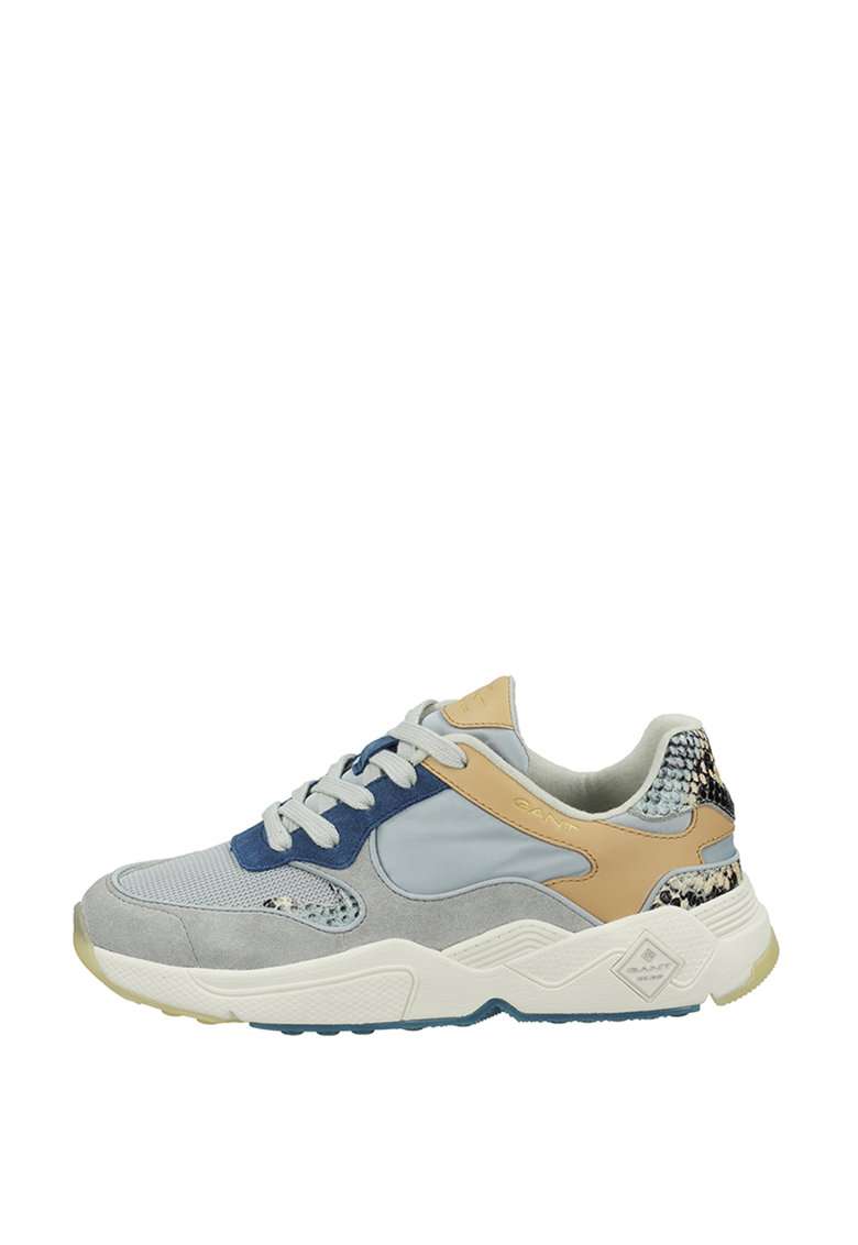 Pantofi sport cu model colorblock si garnituri cu aspect de piele de sarpe