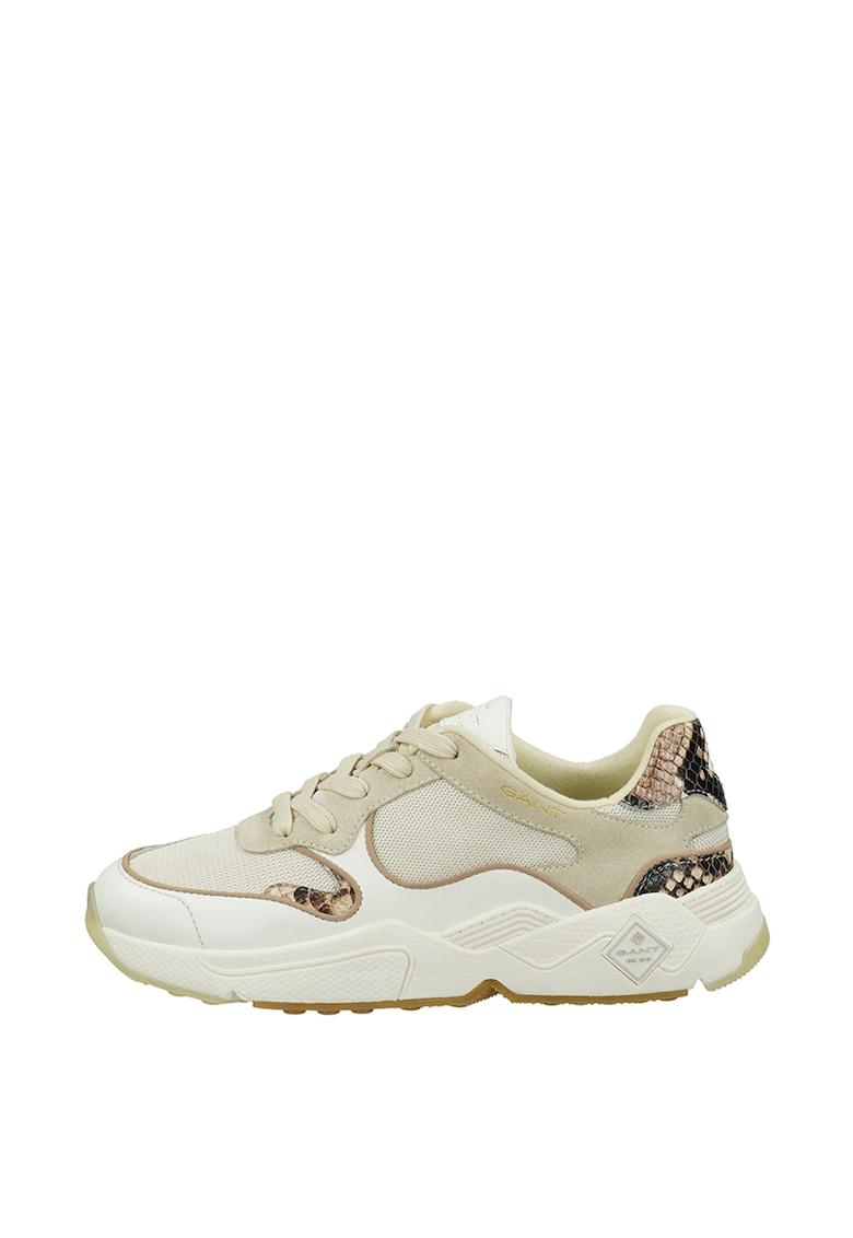 Pantofi sport din piele si piele intoarsa cu garnituri cu aspect de piele de sarpe