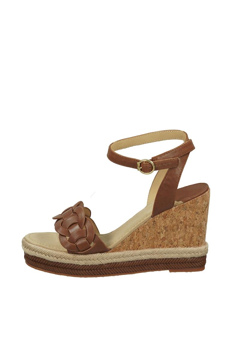 Sandale tip espadrile cu talpa wedge si insertie de pluta