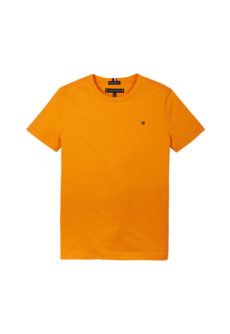 Tricou din bumbac organic cu decolteu la baza gatului imagine