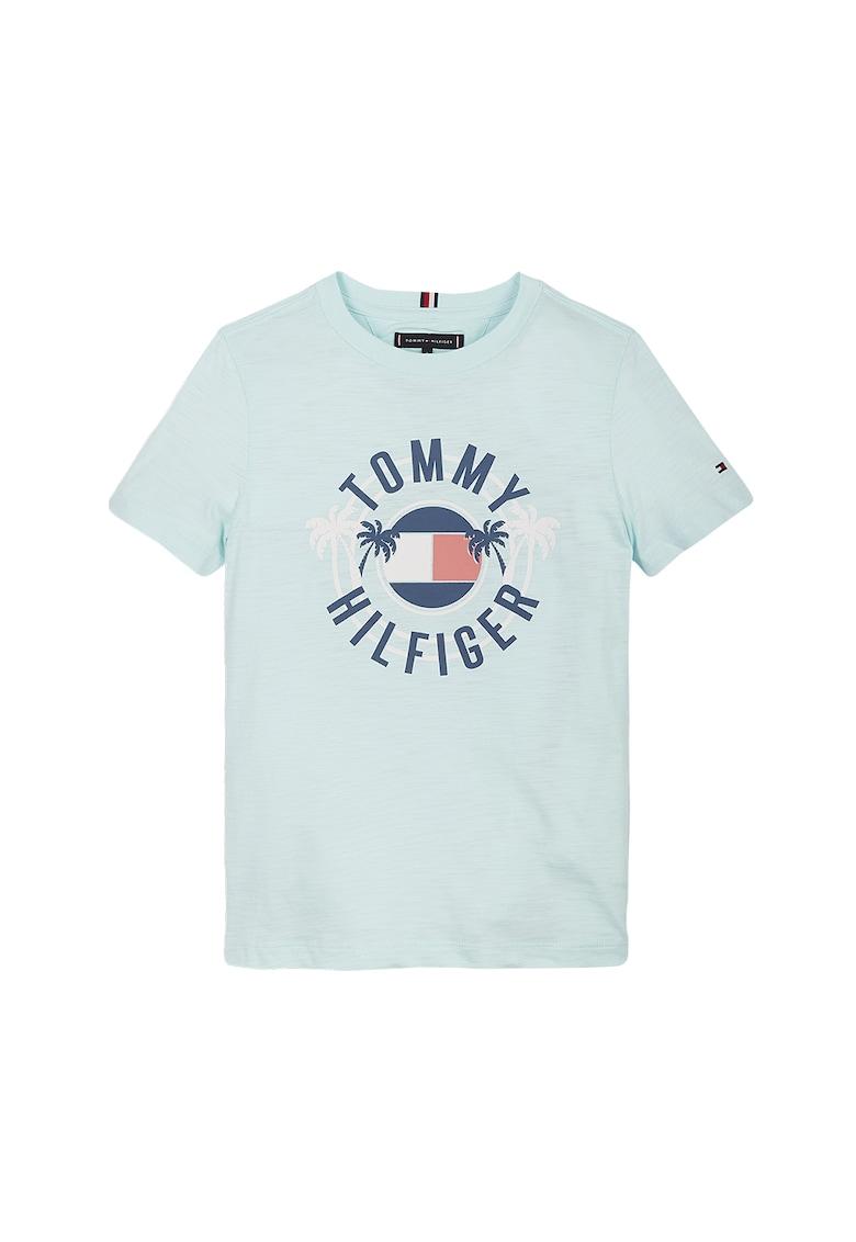 Tricou cu imprimeu logo si decolteu la baza gatului imagine