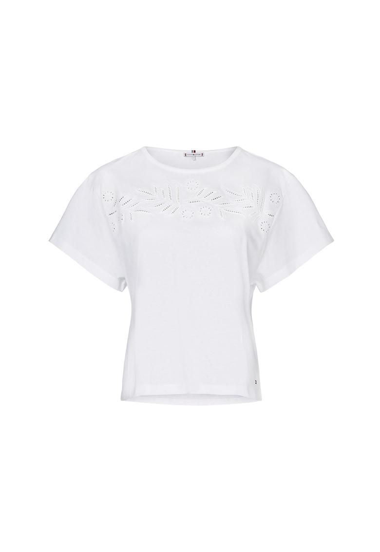 Tricou din amestec de modal cu broderie imagine