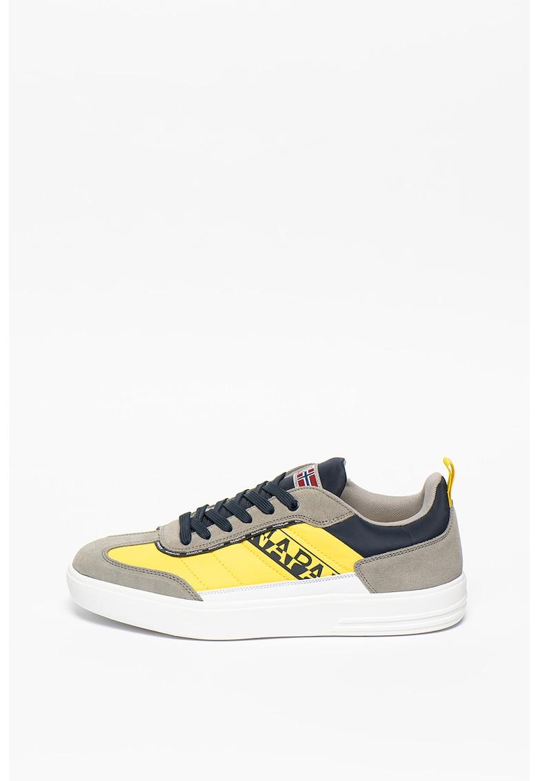 Pantofi sport cu model colorblock si garnituri de piele intoarsa Bark