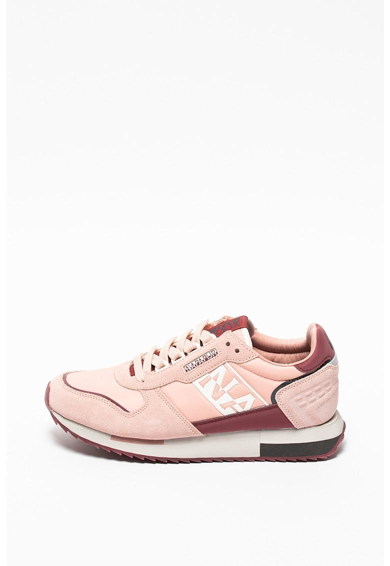 Pantofi sport de piele intoarsa cu insertii din material textil imagine