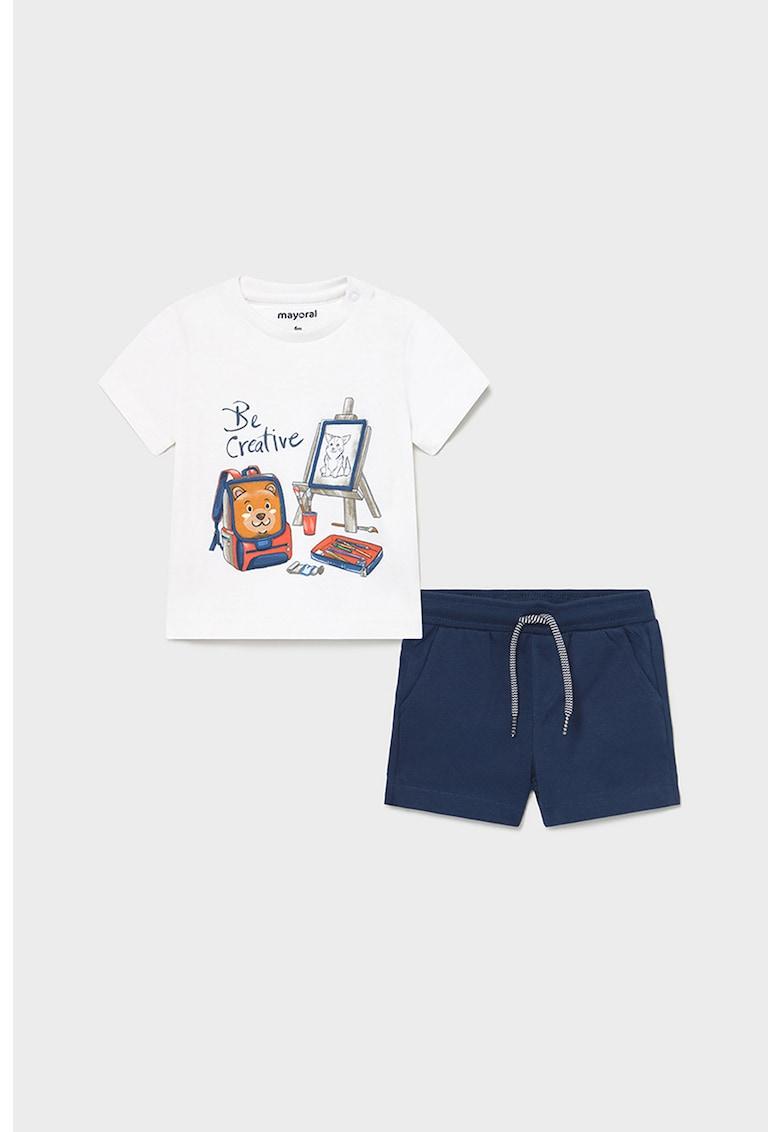 Set de tricou cu decolteu la baza gatului si pantaloni scurti - 2 piese poza fashiondays