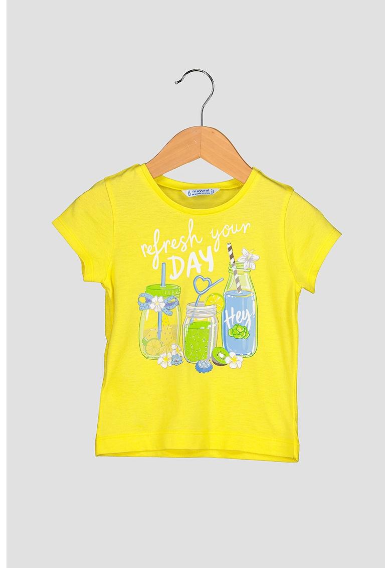 Tricou din amestec de modal cu imprimeu grafic
