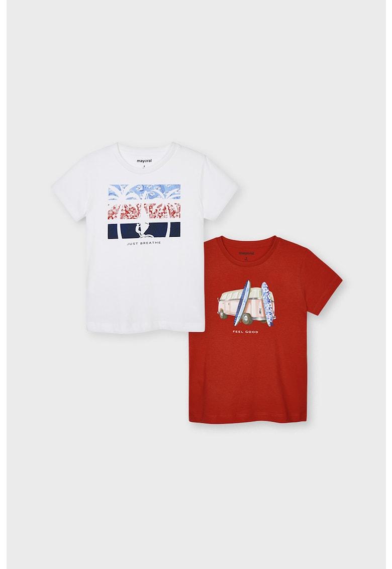 Set de tricouri cu imprimeu grafic - 2 piese imagine