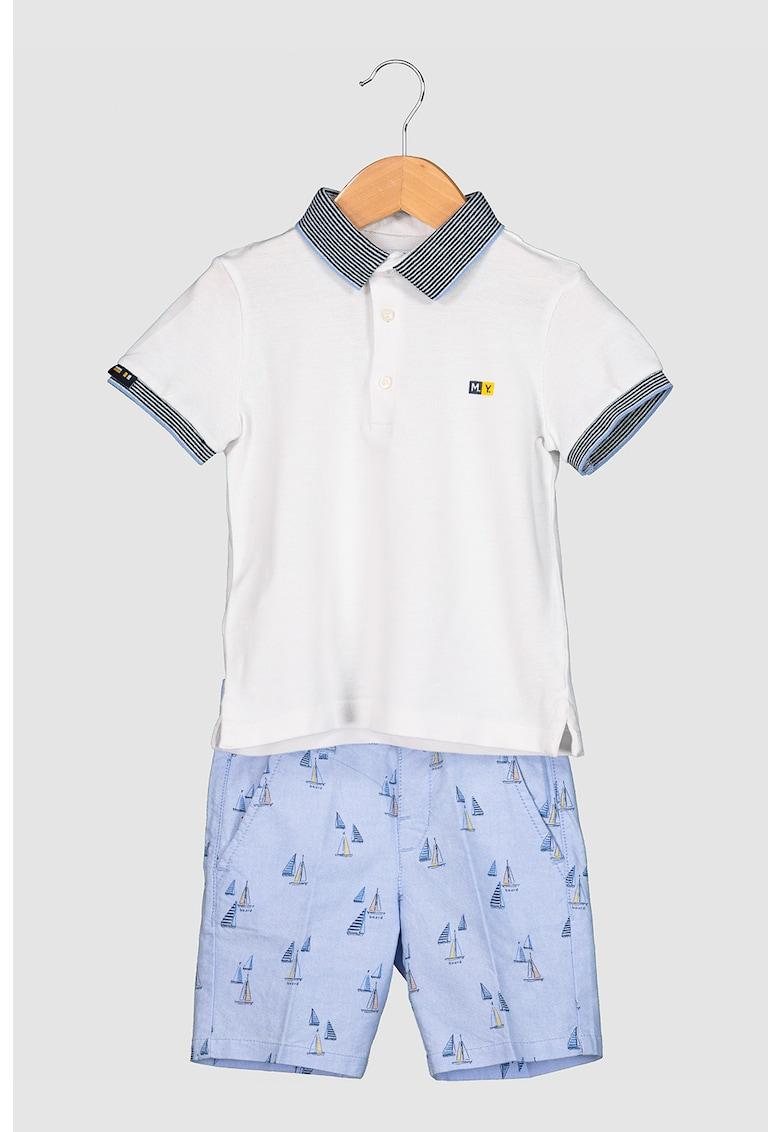 Set de tricou polo si bermude chino cu model grafic imagine fashiondays.ro 2021