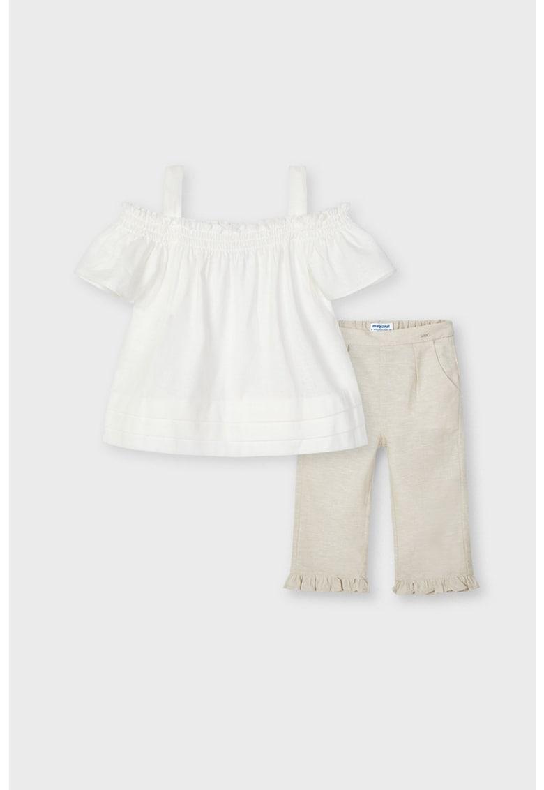 Set de bluza din amestec de in cu decupaje pe umeri si pantaloni capri