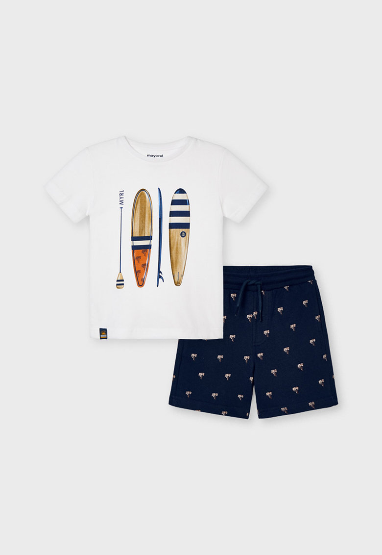 Mayoral Set de tricou si pantaloni sport scurti cu imprimeu grafic