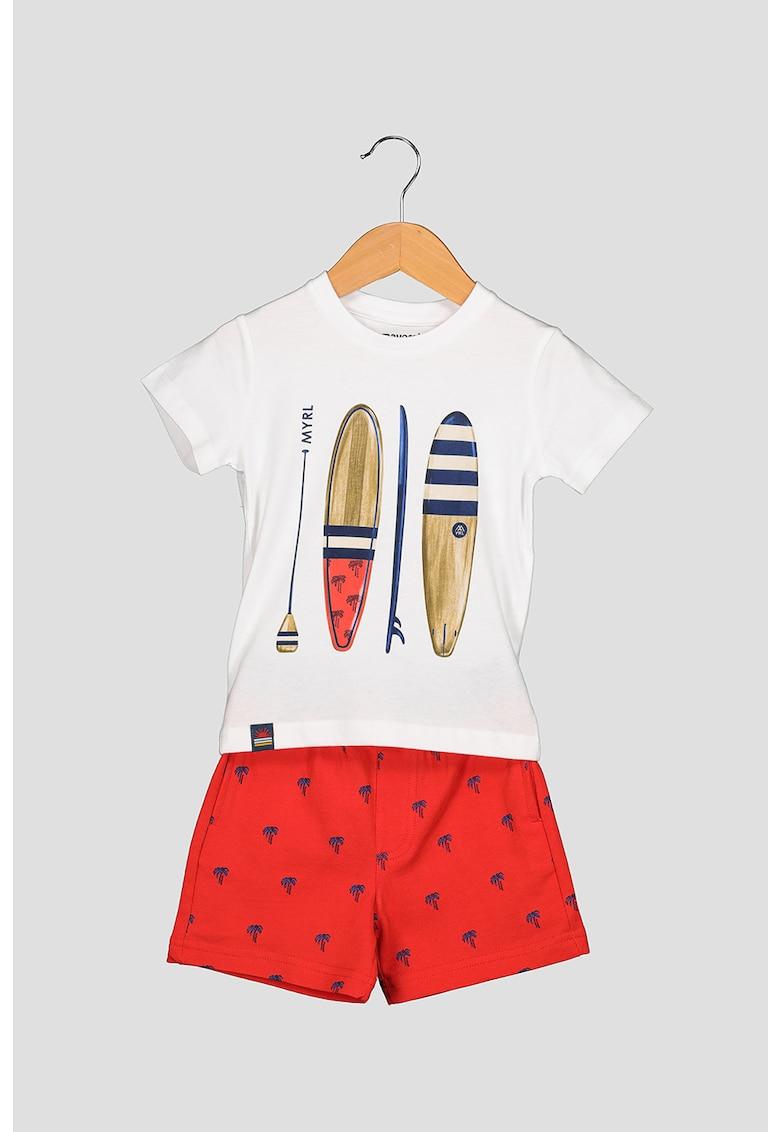 Set de tricou si pantaloni sport scurti cu imprimeu grafic poza fashiondays