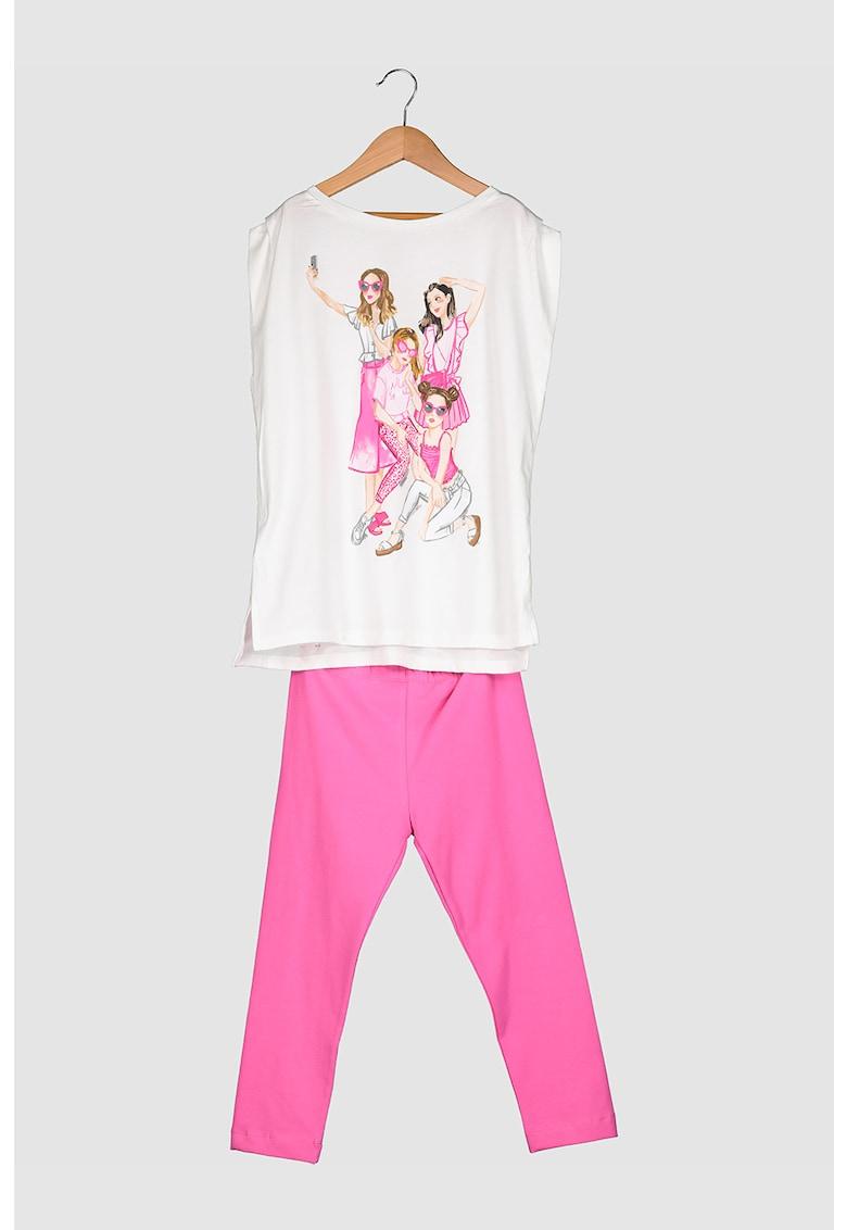 Set de top si colanti cu imprimeu grafic - 2 piese poza fashiondays