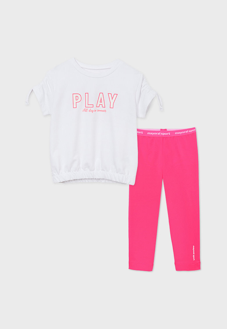 Set de tricou lejer cu pantaloni si imprimeu text imagine fashiondays.ro 2021