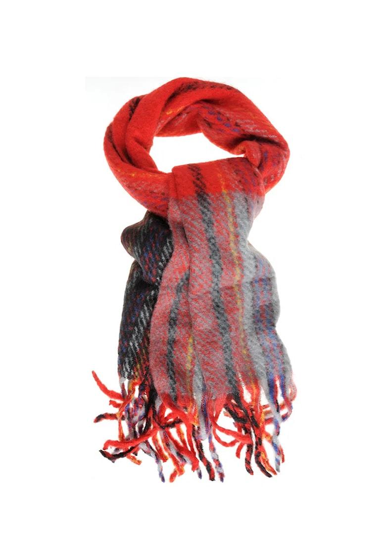 Fular circular din amestec de lana cu franjuri poza fashiondays