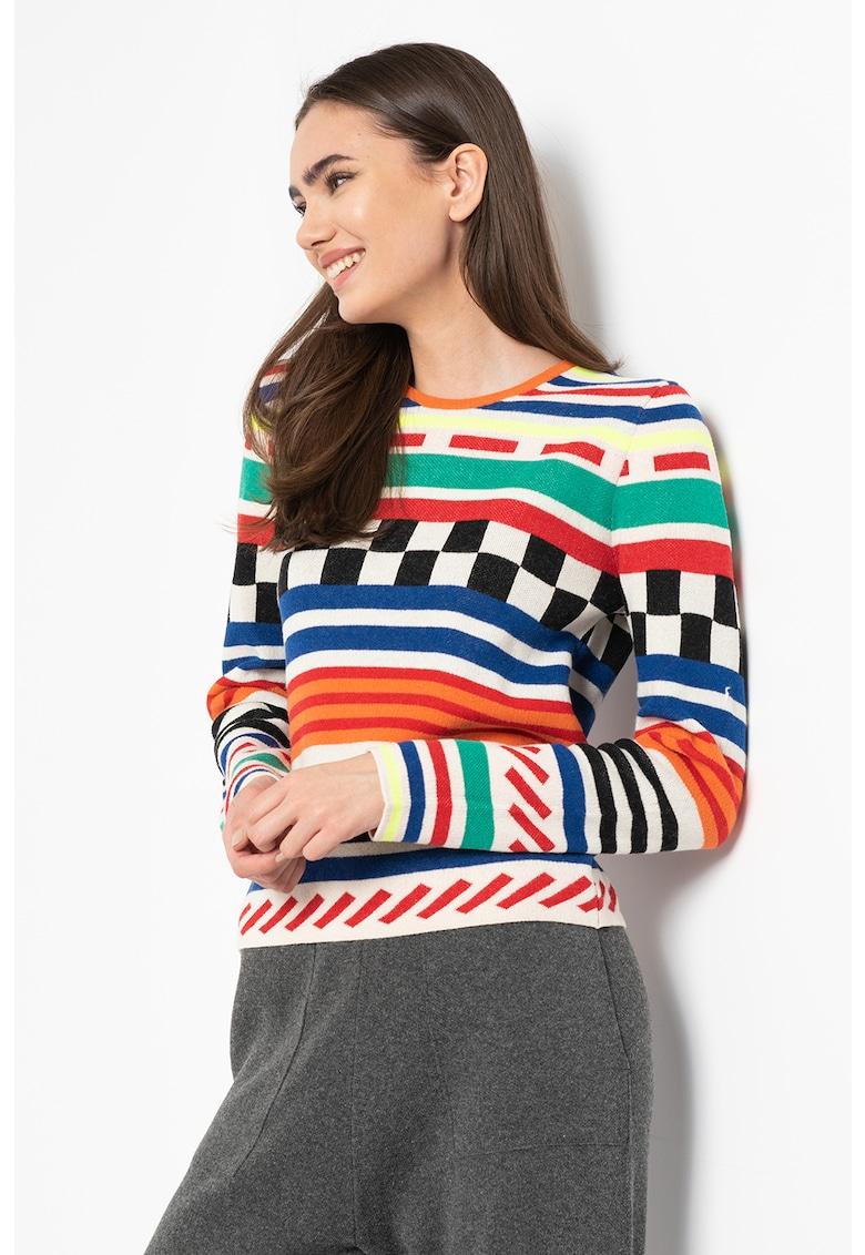 Pulover din amestec de lana cu model geometric si dungi Ben