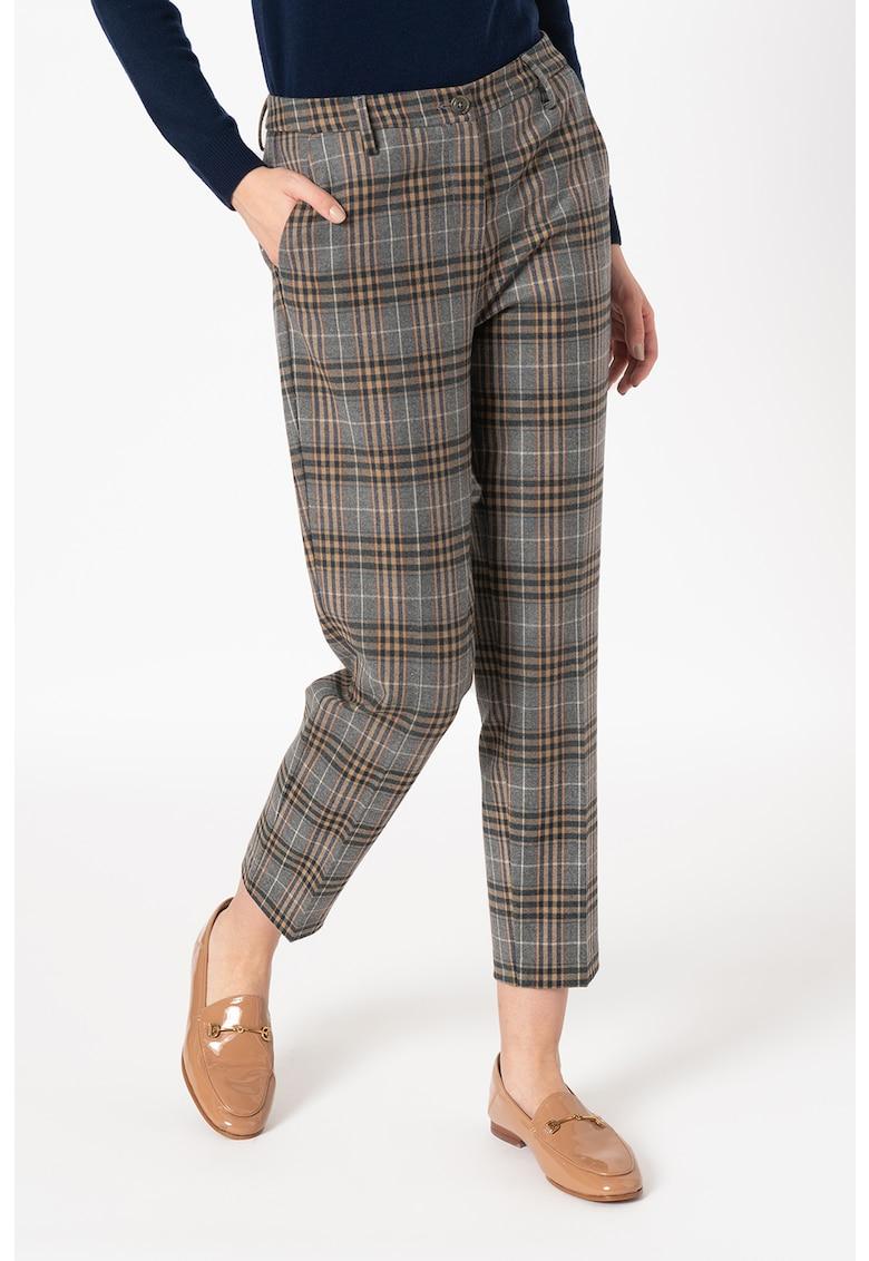 Pantaloni din amestec de lana cu model in carouri