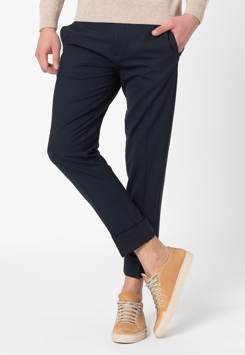 Pantaloni slim fit din amestec de lana