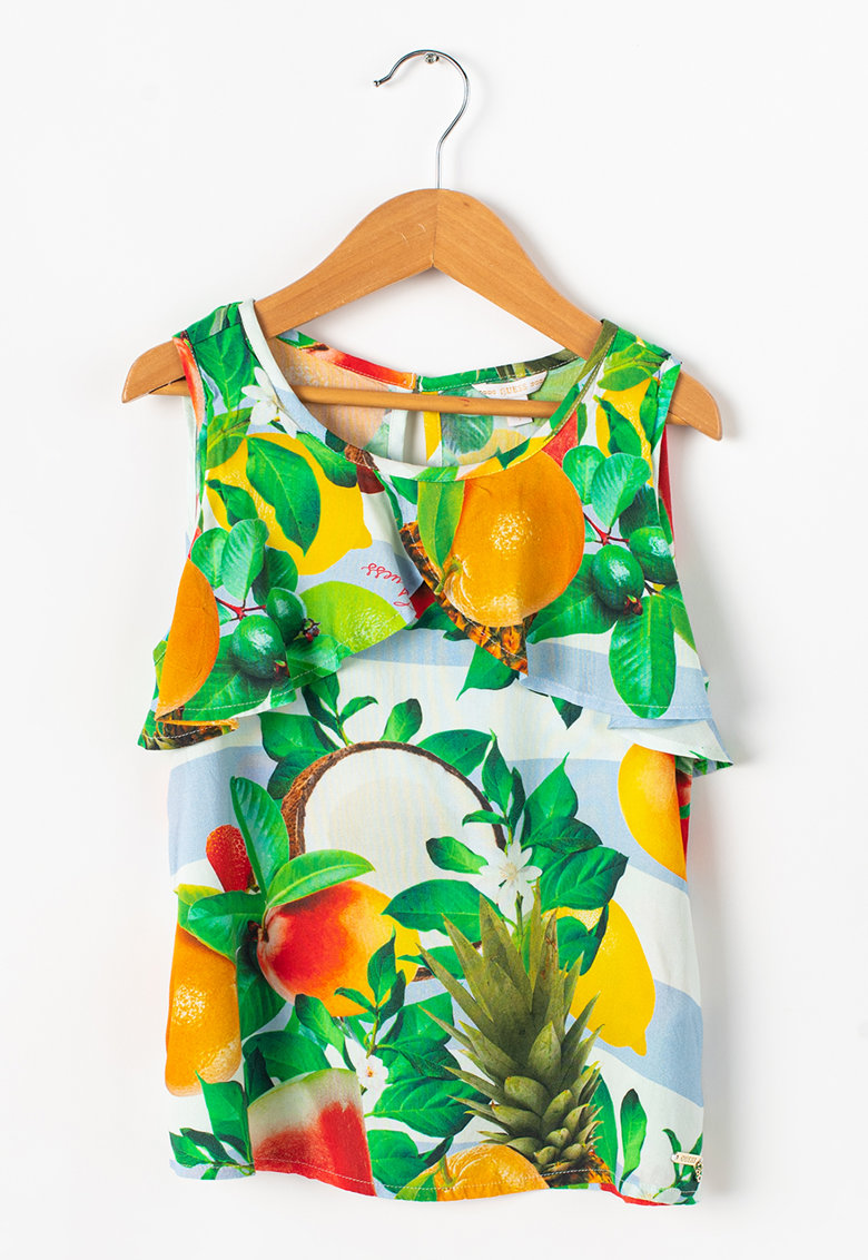 Bluza fara maneci cu detaliu suprapus si imprimeu foto