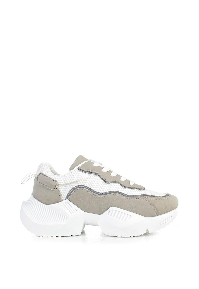Pantofi sport de piele intoarsa ecologica si plasa cu aspect masiv