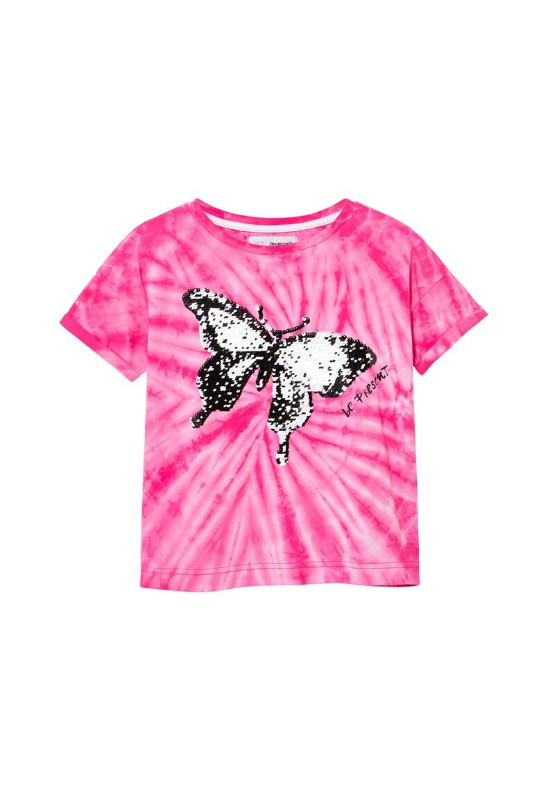 Tricou cu model tie-fye si imprimeu fluture imagine fashiondays.ro