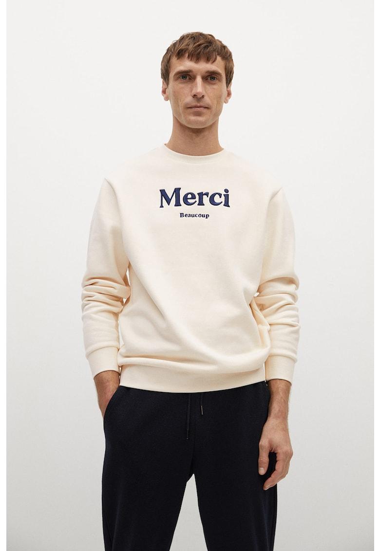 Bluza sport din amestec de bumbac organic cu text brodat de la Mango