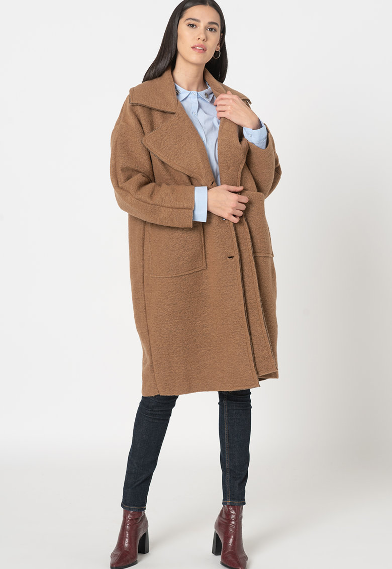 Palton supradimensionat din amestec de lana Valeria imagine fashiondays.ro
