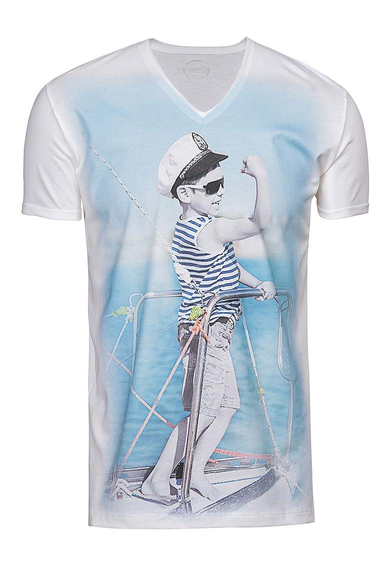 Tricou slim fit cu imprimeu grafic Bărbați imagine