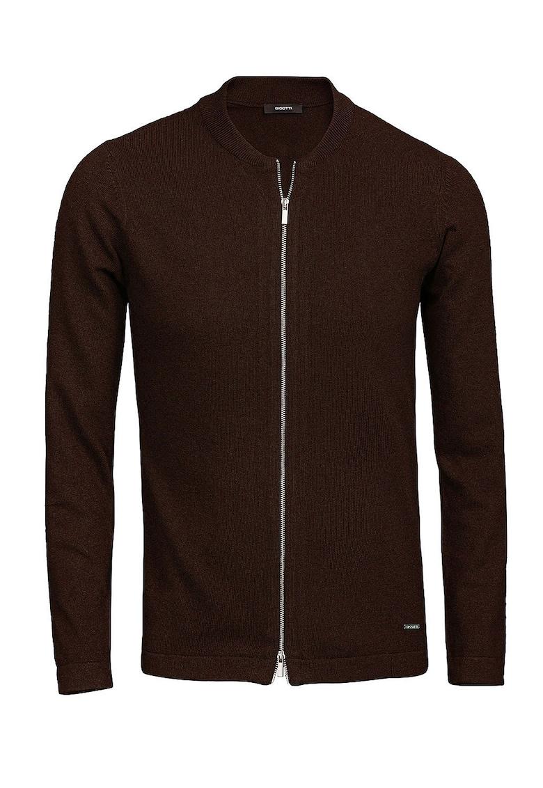 Cardigan slim fit din amestec de lana cu fermoar poza fashiondays