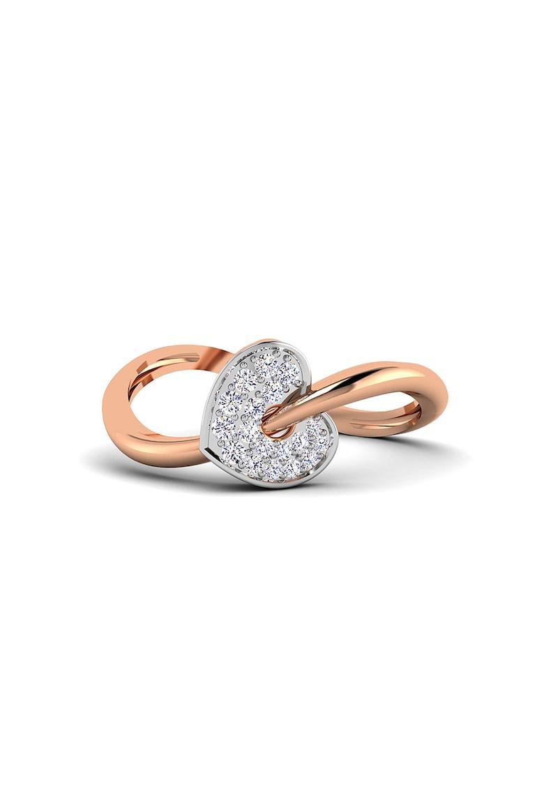 Inel de aur de 14K - cu diamant incrustat