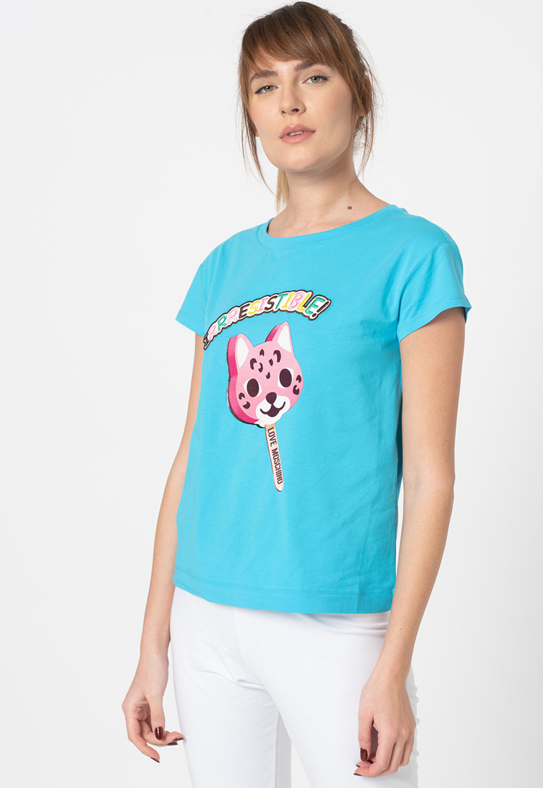 Tricou cu decolteu la baza gatului si broderie text Love Moschino fashiondays.ro