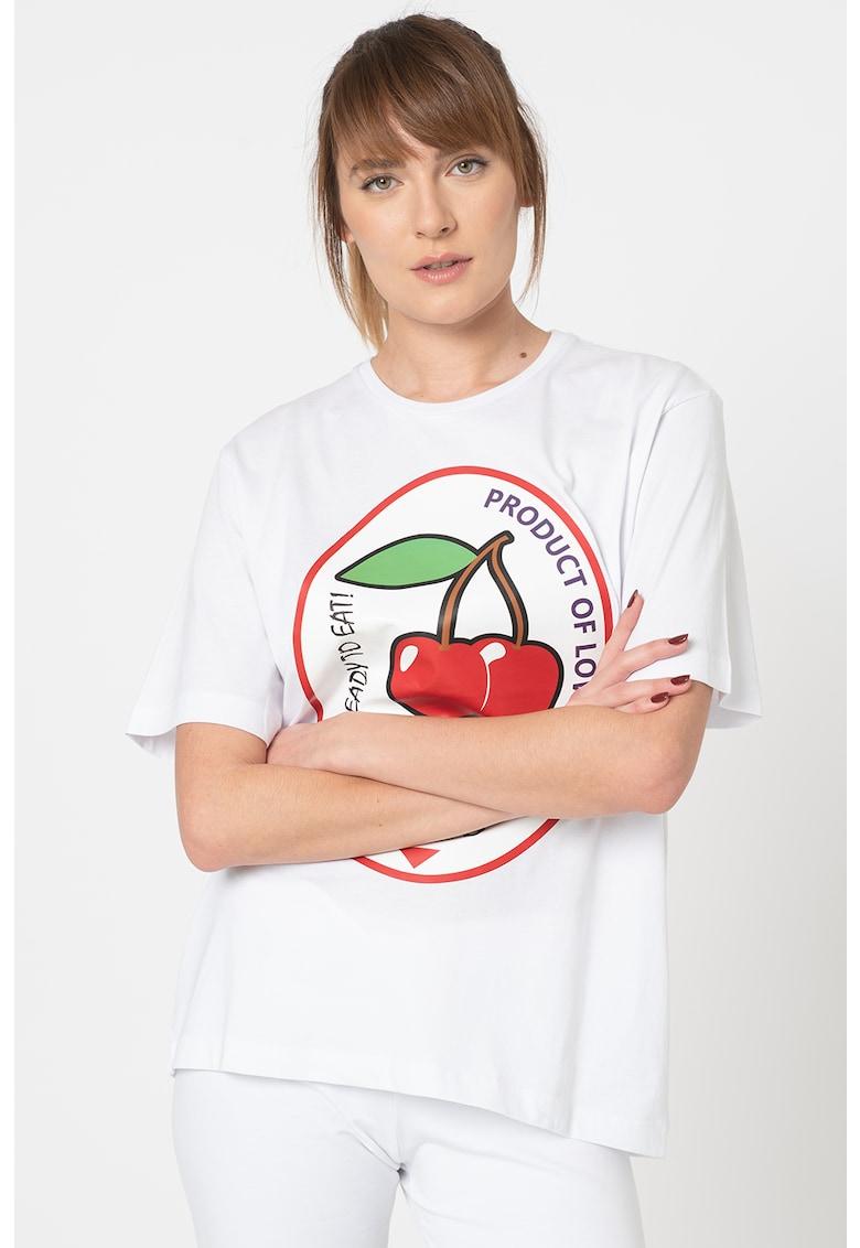 Tricou lejer cu imprimeu grafic Love Moschino fashiondays.ro