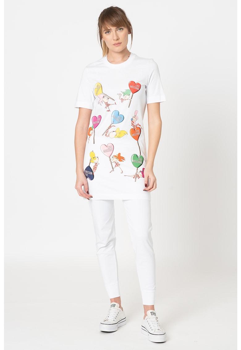 Rochie tip tricou cu imprimeu grafic Love Moschino fashiondays.ro