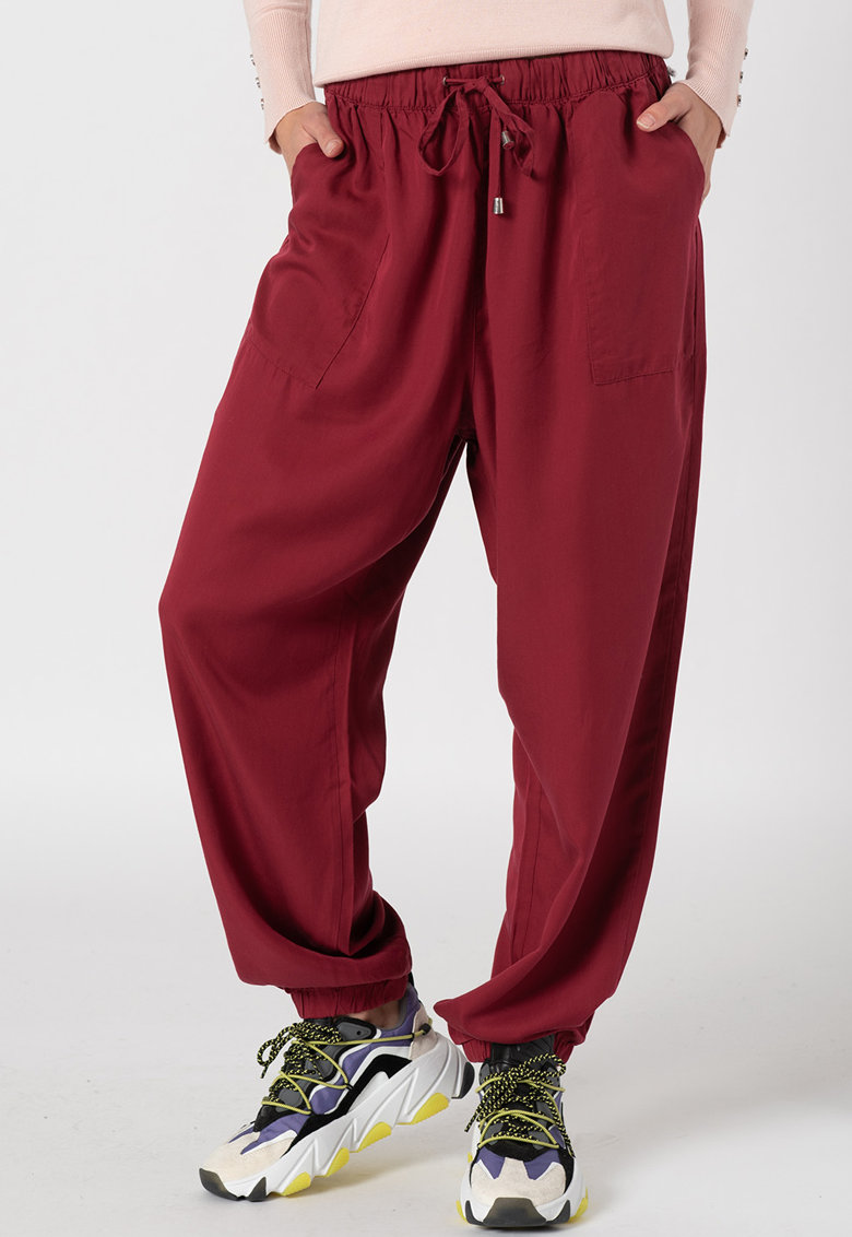 Pantaloni relaxed fit cu glezne elastice imagine promotie