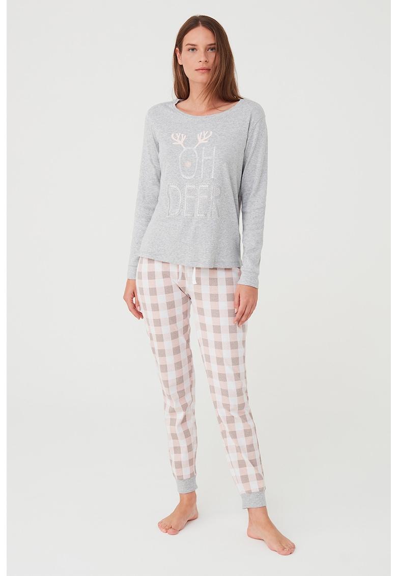 Pijama de jerseu cu maneci lungi