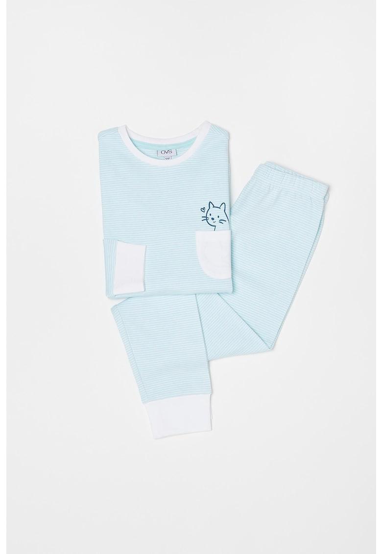 Pijama de bumbac cu pantaloni lungi