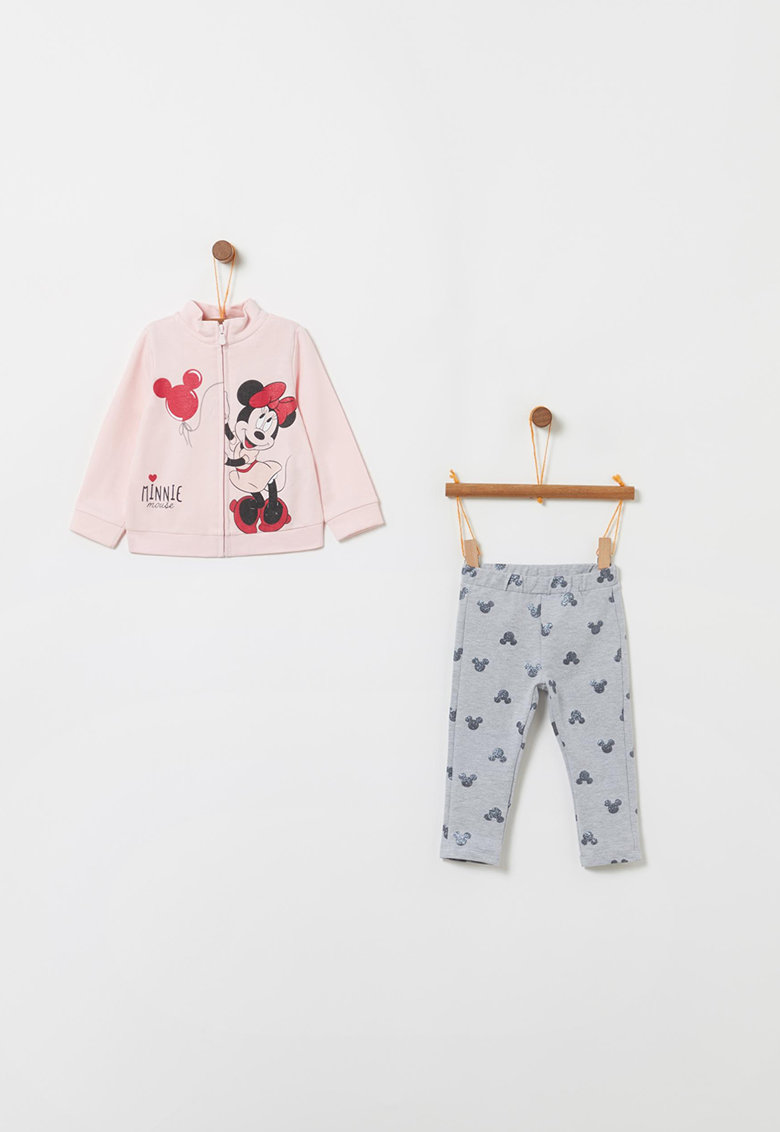 Set de colanti si bluza sport cu fermoar si imprimeu cu Minnie Mouse imagine