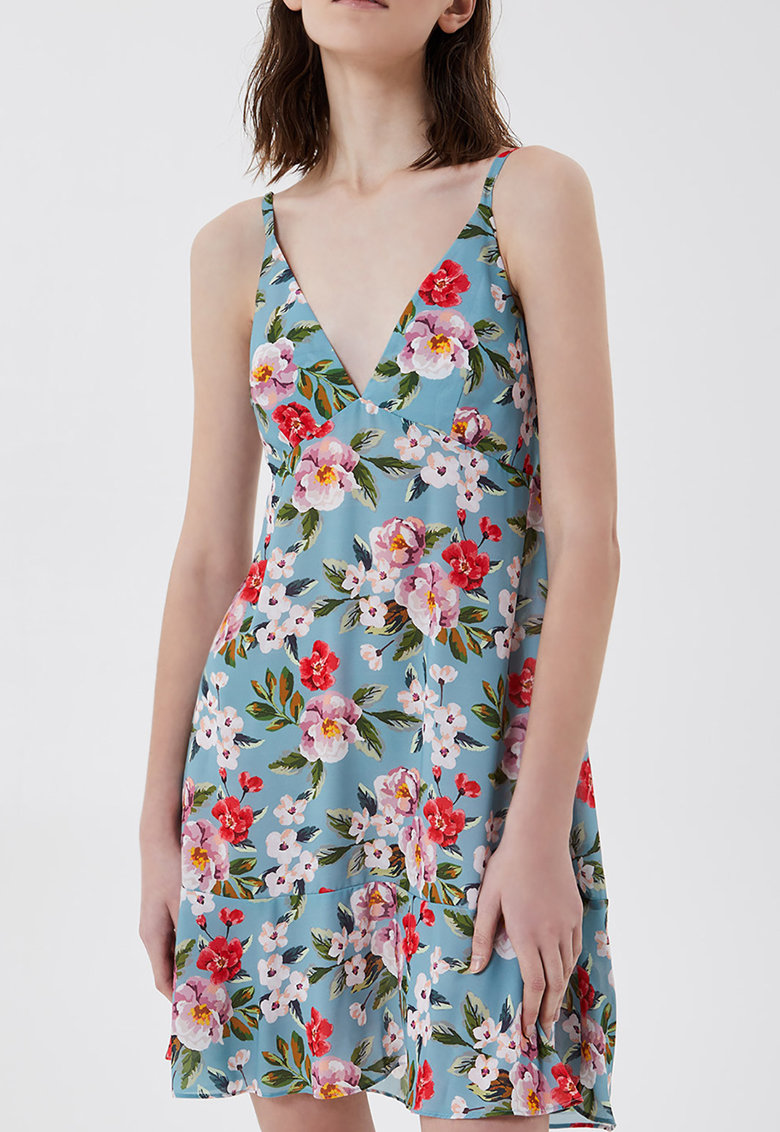 Rochie de plaja cu decolteu in V si imprimeu floral