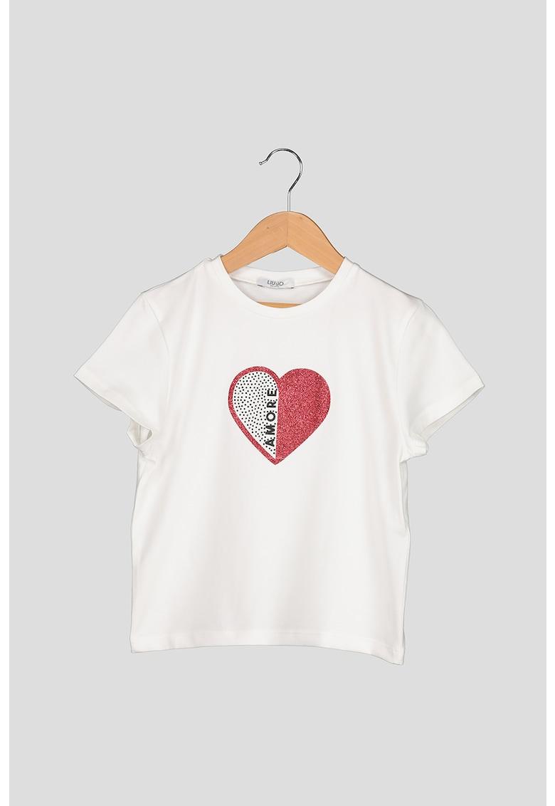 Tricou cu inima cu aspect stralucitor si strasuri