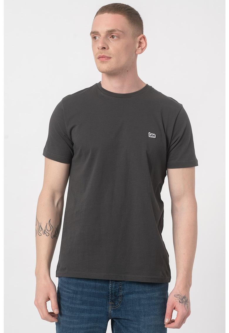 Tricou cu decolteu la baza gatului si detaliu logo brodat imagine fashiondays.ro 2021