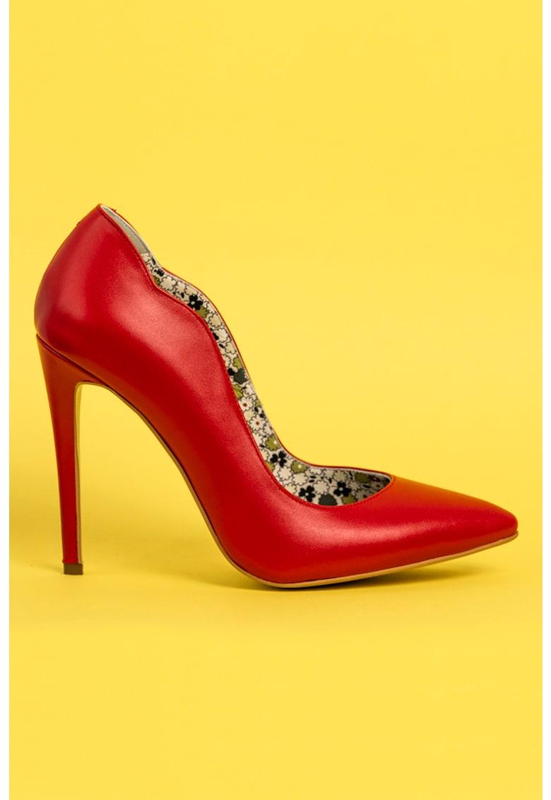 Pantofi stiletto de piele cu margine valurita