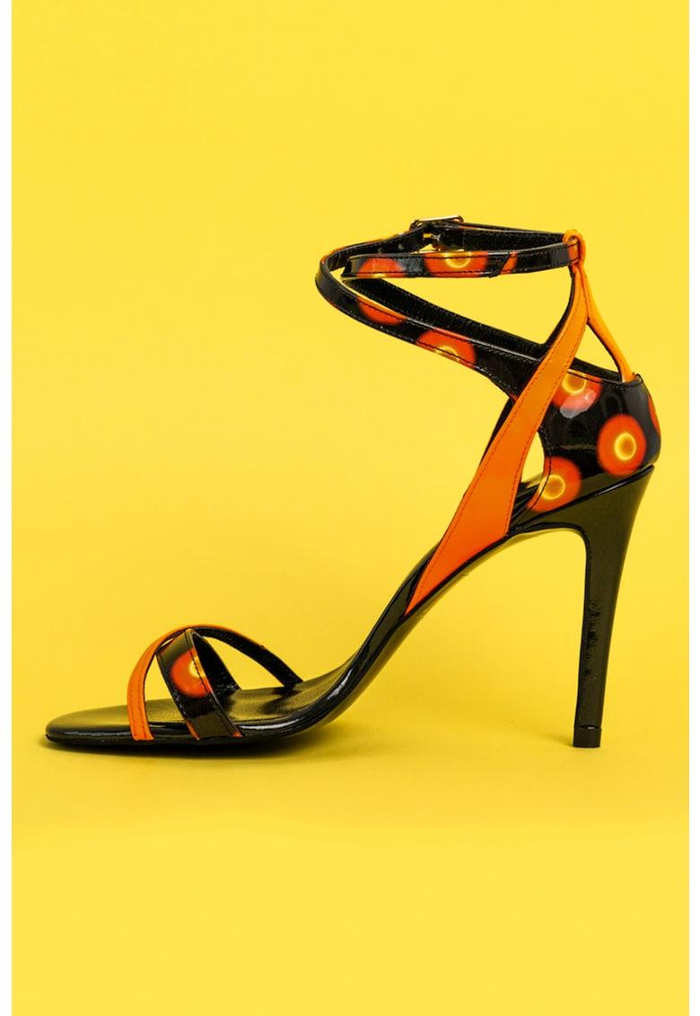 Sandale de piele cu barete multiple si toc stiletto