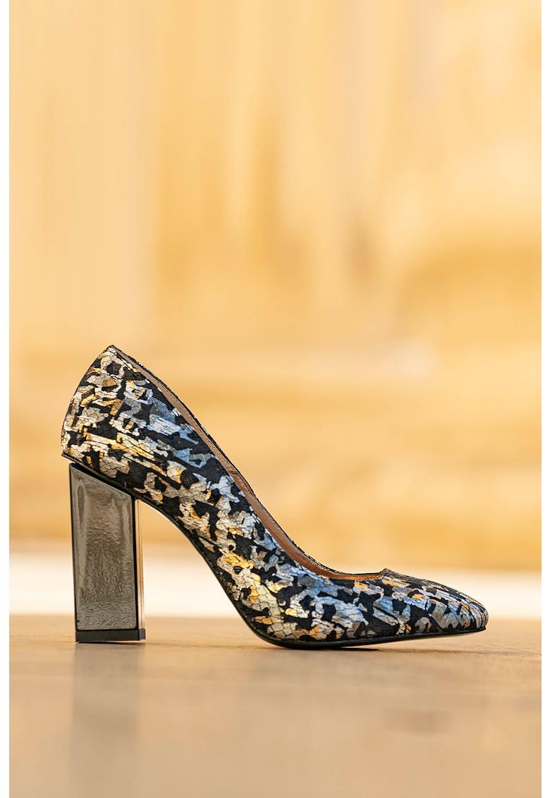 Pantofi de piele cu toc masiv Alima