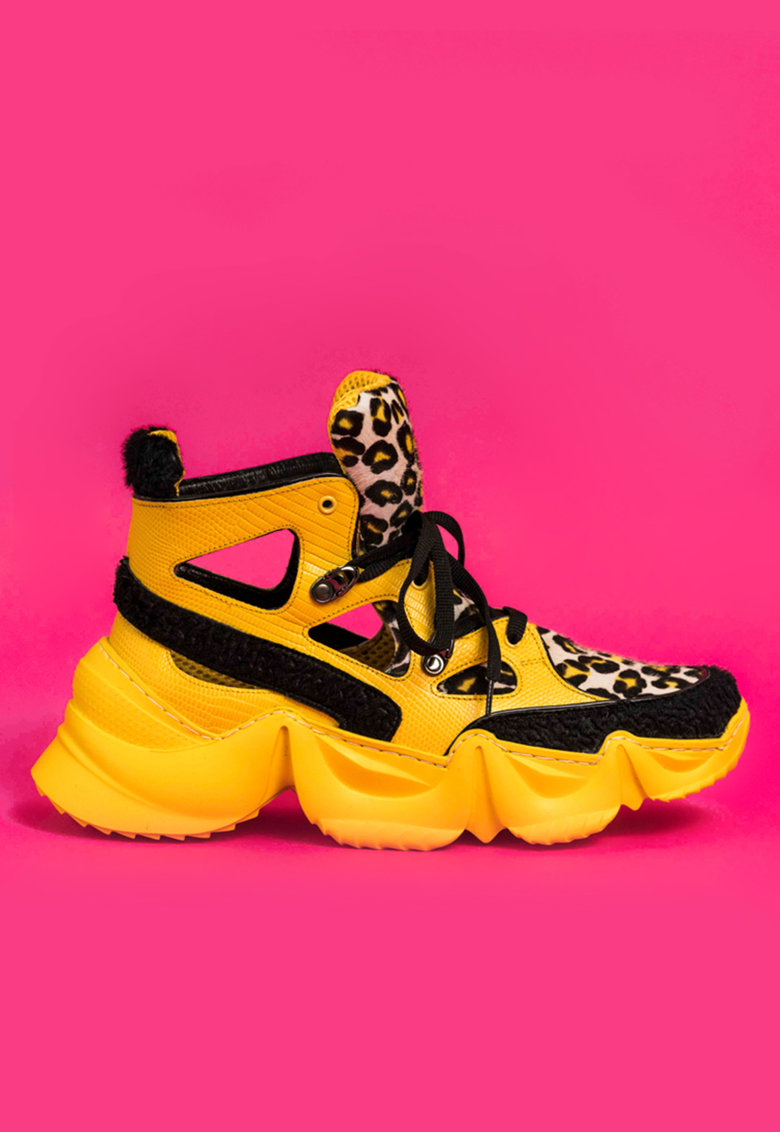 Pantofi sport de piele cu aspect masiv si decupaje Cosette imagine