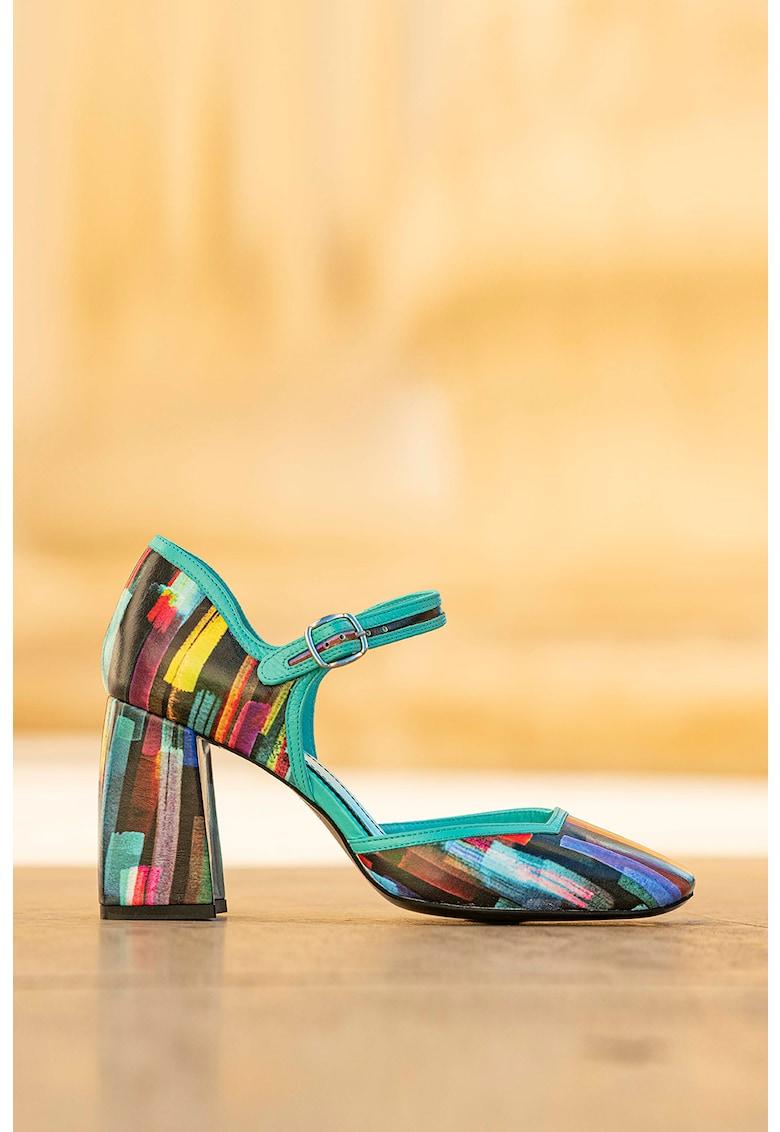 Pantofi de piele cu varf patrat si aspect colorblock Baccarat