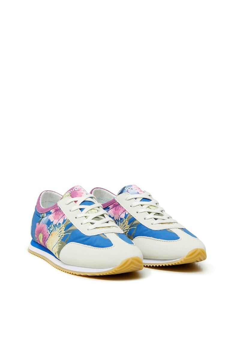Pantofi sport cu model floral si garnituri de piele intoarsa