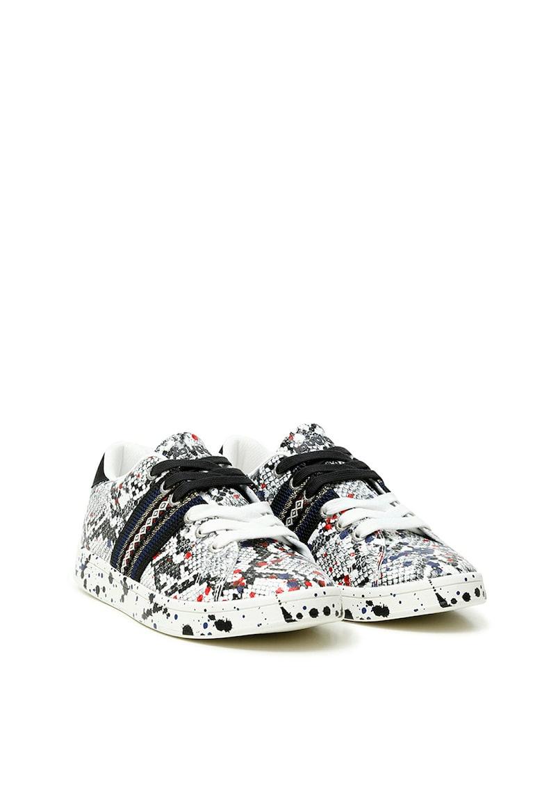 Pantofi sport de piele ecologica cu aspect de piele de sarpe
